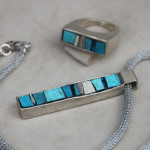 "Mosaic jewelry: CC jewels collection, ""Vibrazioni"" pendant #19 and ring #7"