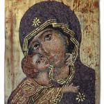 """""""Madre di Dio"""", interpretazione di icona bizantina, 2011. Realizzata per Scuola Mosaicisti del Friuli. 32 x 40 cm"""