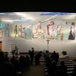 """""""La Sacra Famiglia"""", 2013. Collaborazione al progetto della Scuola Mosaicisti del Friuli, ideazione di Stefano Jus. Chiesa della Sacra Famiglia di Pordenone. 30 mq ca."""