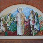 """""""San Valentino"""", 2013. Opera realizzata per Scuola Mosaicisti del Friuli su bozzetto di Stefano Jus. Chiesa di S. Maria di Campagna, Cessalto (Ve). 350 x 210 cm ca."""