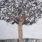 """L'albero dell'amicizia"" (The friendship tree), 2010. Realized with Eclektic association for a project with primary school M. Volpe - Spilimbergo, on a drawing by Giulio Candussio. 245 x 380 cm"