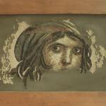 """""""Volto"""", copia reinterpretata di un mosaico d'epoca romana conosciuto come """"la ragazza zingara"""" (Zeugma, Turchia), 2014. 55 x 70 cm"""