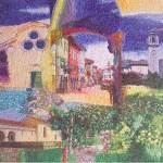 """""""Il territorio"""", 2009. Collaborazione al progetto della Scuola Mosaicisti del Friuli, ideazione di Stefano Jus, per la sede di BCC Spilimbergo. 210 x 200 cm"""