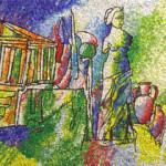"""""""Le radici del tempo"""", 2011.Collaborazione al progetto della Scuola Mosaicisti del Friuli, ideazione di Stefano Jus, per la scuola materna di Gonars (Ud). 70 x 458 cm"""