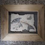 """""""Asaroton"""", copia reinterpretata di un particolare di un mosaico romano (Aquileia, I° sec. a.C.), 2013. 70 x 55 cm"""