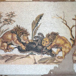 """Boar hunting"", interpretated copy of a roman mosaic (Tunisia), 2010. Floor insert. 200 x 150 cm"