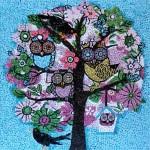 """""""Summer owls"""", 2012. Realizzata per Scuola Mosaicisti del Friuli, bozzetto omaggio a Hedgerow. 30 x 30 cm"""