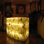 """Bancone in onice, ristorante """"Mille e una notte"""", 2006. 120 x 90 x 80 cm"""