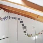 """""""Inserti in mosaico retroilluminato"""", 2018. Progetto generale e mobili in legno di Alessandro Pasquali. Per mansarda in casa privata, Trento."""