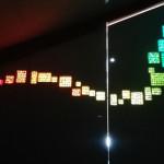 """""""Inserti in mosaico retroilluminato"""", vista interna, 2018. Progetto generale e mobili in legno di Alessandro Pasquali. Per mansarda in casa privata, Trento."""