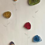 """""""Fiori"""", 2015. Collezione di decori da appendere e completare a muro, Smalti veneziani e acciaio inox."""