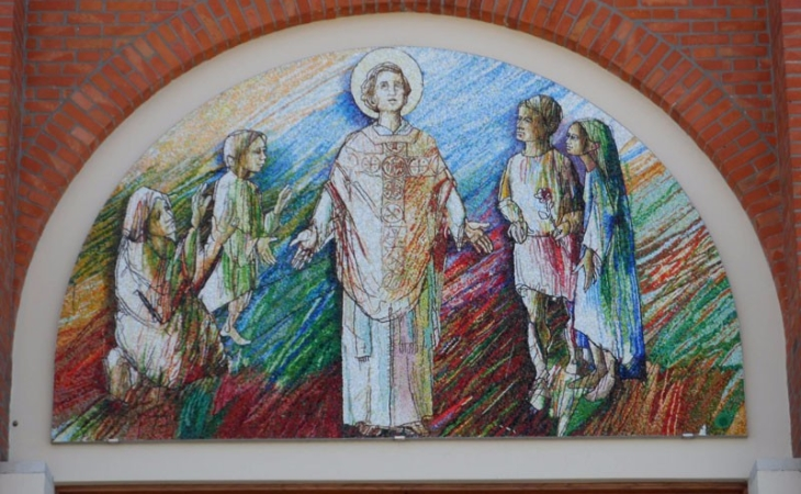 mosaici realizzati su bozzetti altrui, San Valentino, progetto di Stefano Jus