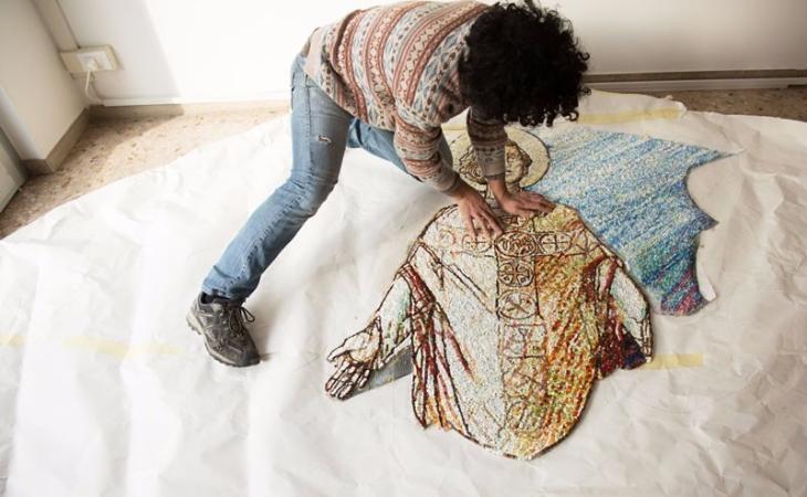 mosaici in lavorazione, San-Valentino, foto Giovanni Chiarot-Zeroidee