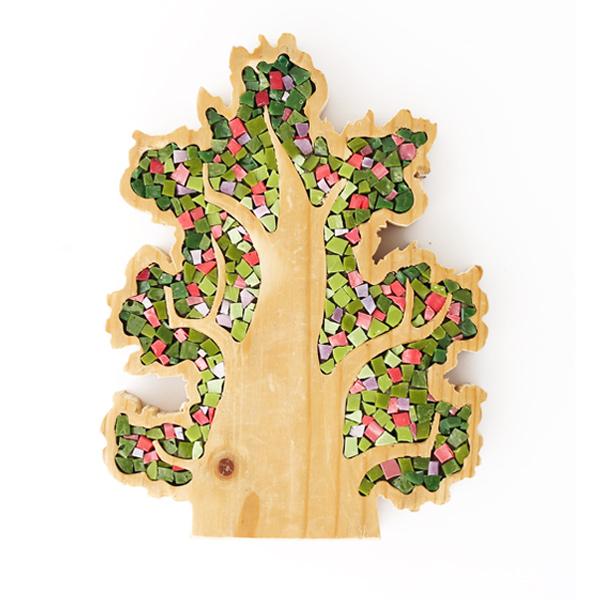 albero soprammobile in legno e mosaico
