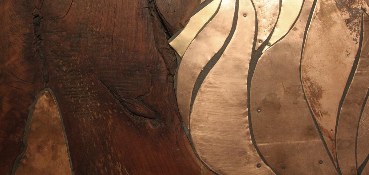 tavolo in legno massiccio e rame per arredo di lusso collaborazione alessandro pasquali e carraro chabarik