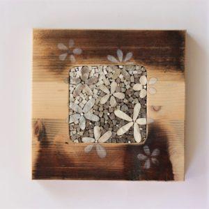 quadretto in mosaico e legno di riciclo
