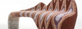 panca di design in mosaico artistico contemporaneo